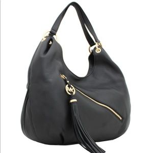 Michael Kors | Black Charm Tassel Leather Hobo Bag